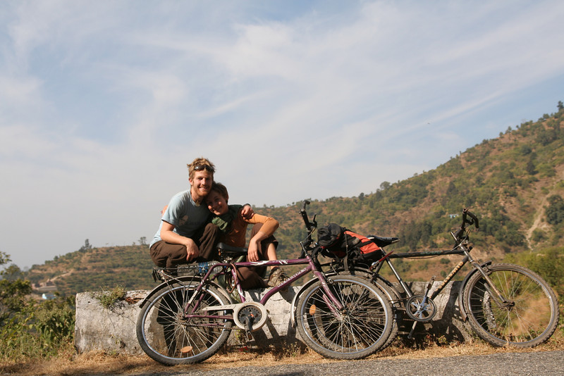Gopi and I stopping for a break during our two day bike trip northeast of Rishikesh, India, into the foothills of the Himalayas.  Not super easy going up, but a blast going down!