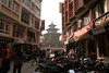 Old and new meet in downtown Katmandu.