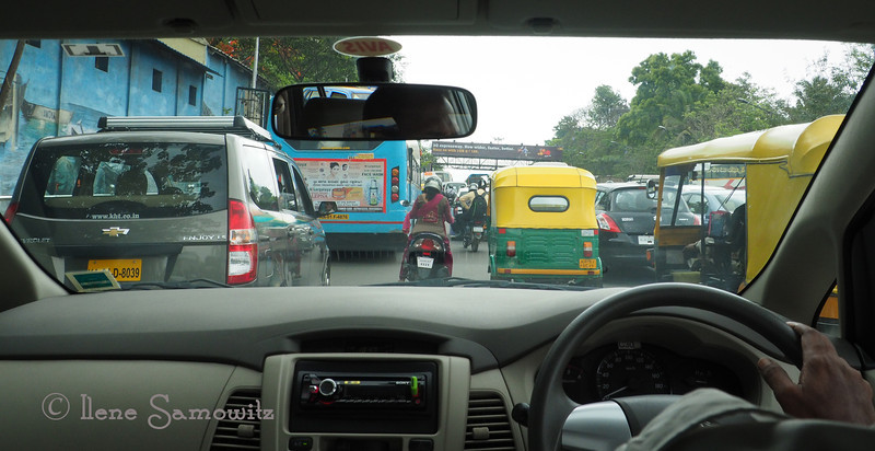 Bangalore traffic captured through front windshield