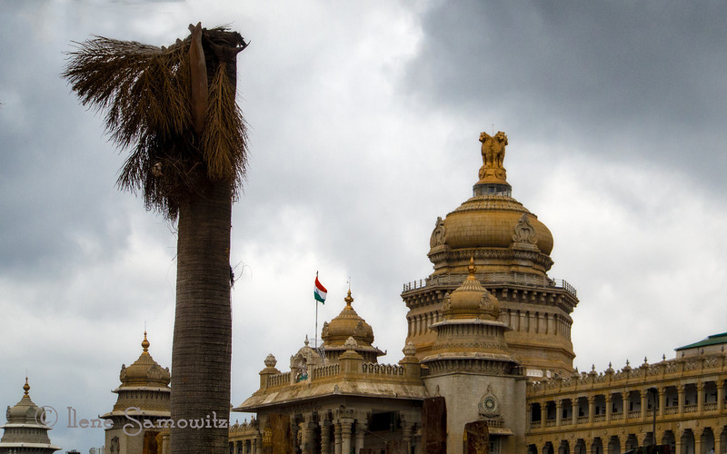 """Vidhana Soudha Parliament Building in Bangalore taken from the car driving by.<br /> <br /> Here is some info about this wonderful building. <br />  <a href=""""http://www.fullstopindia.com/city-pages/bangalore/vidhana-soudha-parliament-building"""">http://www.fullstopindia.com/city-pages/bangalore/vidhana-soudha-parliament-building</a>"""