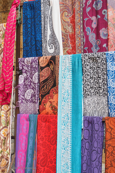 Scarves at a market stand on Commercial Street in Bangalore.