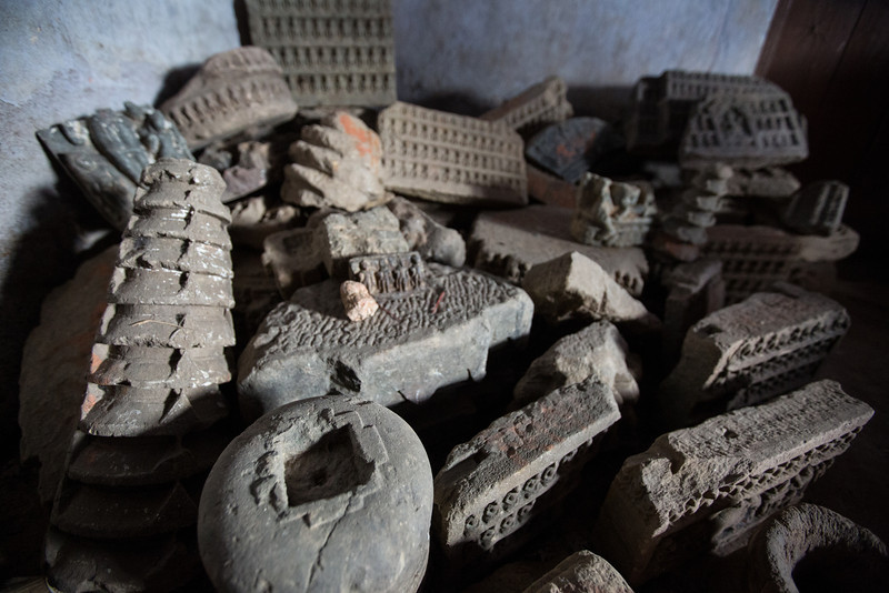 Buddhist artifacts in the village of Ayer, Bihar, India