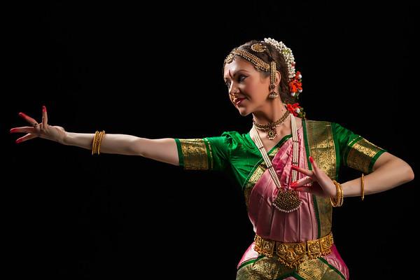 Beautiful girl dancer of Indian classical dance Bharatanatyam