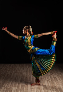 Beautiful girl dancer of Indian classical dance Bharatanatyam