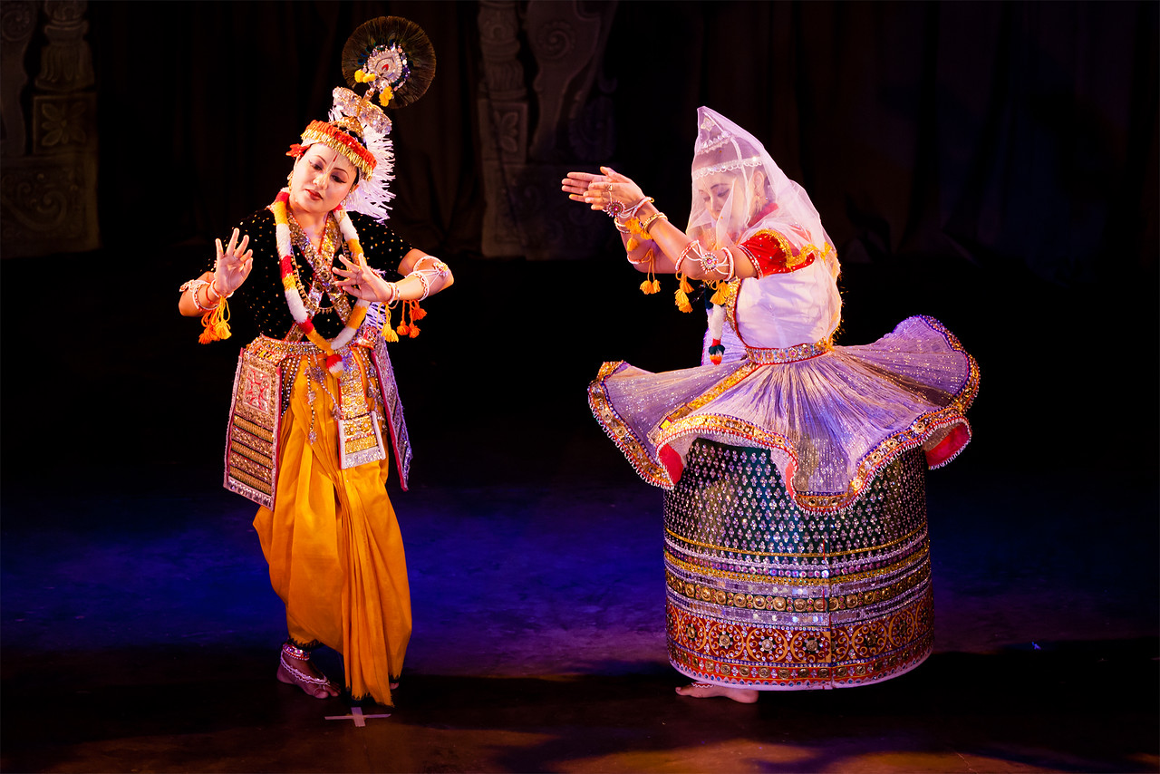 CHENNAI, INDIA - DECEMBER 12: Indian classical dance Manipuri preformance on December 12, 2010 in Chennai, India. Female is portraying Krishna character