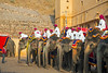 Elephants getting ready for visitors riding to the Main Amber Fort area