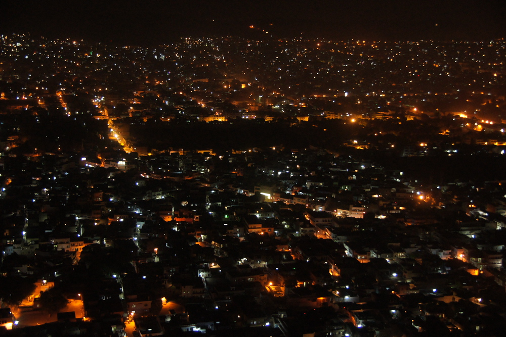 An overhead perspective shot at night of The Pink City - Jaipur, India.