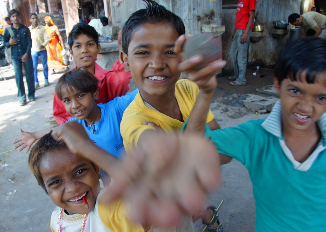 Friendly children greeting me in Jaipur, India