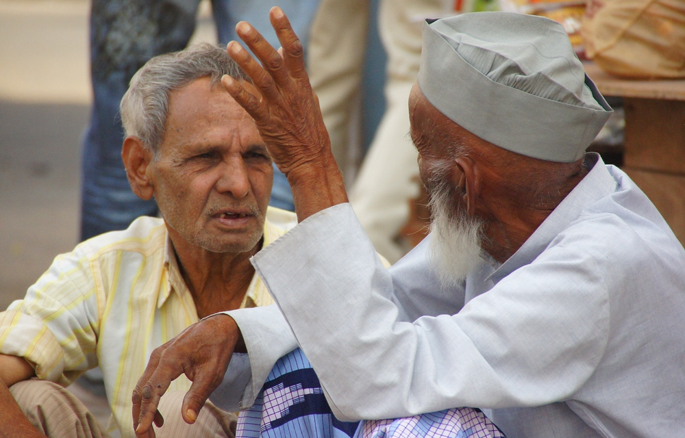A candid discussion between these two Indian men on the streets of Jaipur, India.