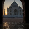 Taj Mahal at sunrise.  I photographed this from inside the muslim temple to the west.