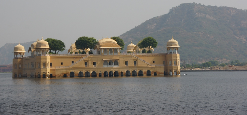 This is a shot of the Floating Palace (aka Jal Mahal or Water Palace) - Jaipur, India