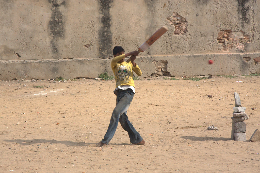 Cricket, by the Pink City wall.Jaipur