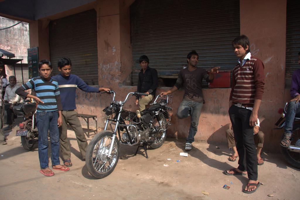 nice new bike, shops along the walls of  the Pink CityJaipur