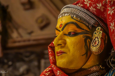 """Actors place a """"chundanga seed""""  under their lower eyelid before the performance to turn the white of their eyes red."""