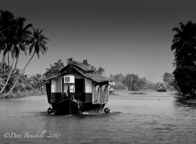 Black and White of the backwaters of Alleppey in Kerala, India