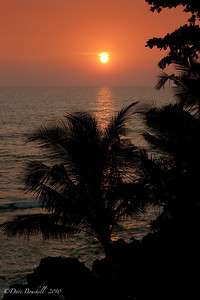 The sun sets in Varkala in Kerala province of India