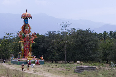 A rather large, flamboyant shrine just off the road.