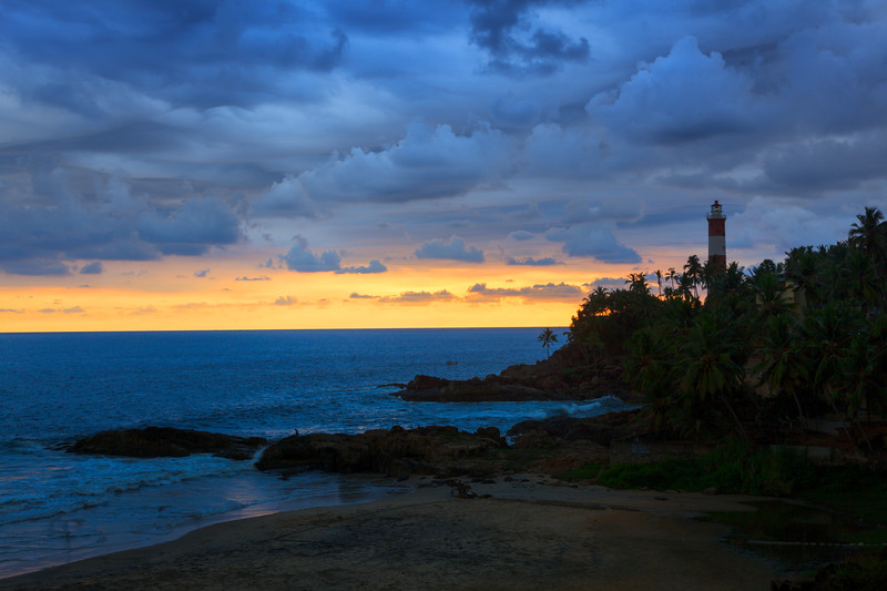 Kovalam (Vizhinjam) lighthouse on sunset. Kerala, India