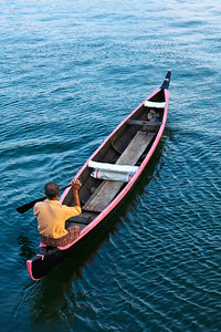 Man in boat. Kerala backwaters