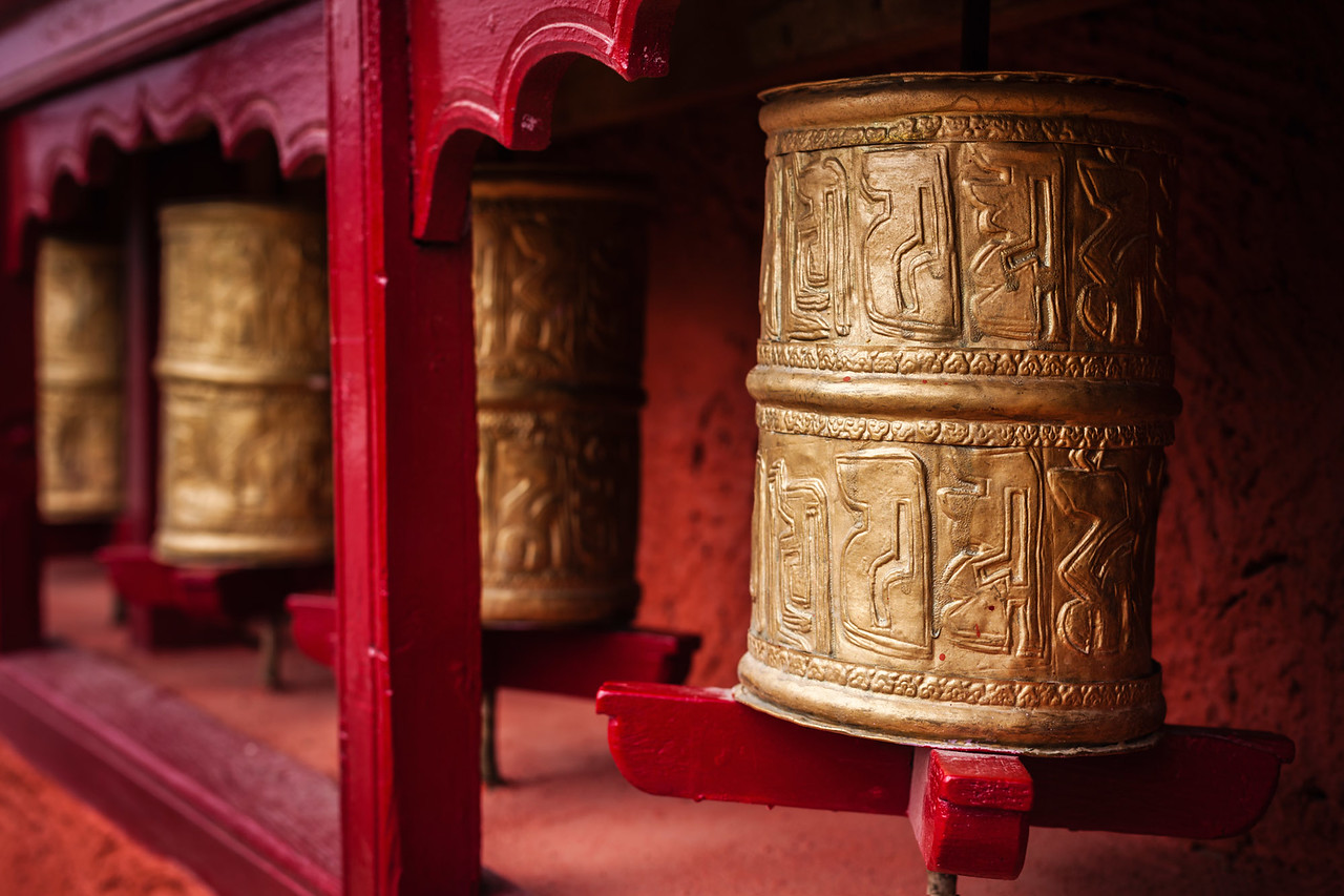 Buddhist prayer wheels. Thiksey, Ladakh