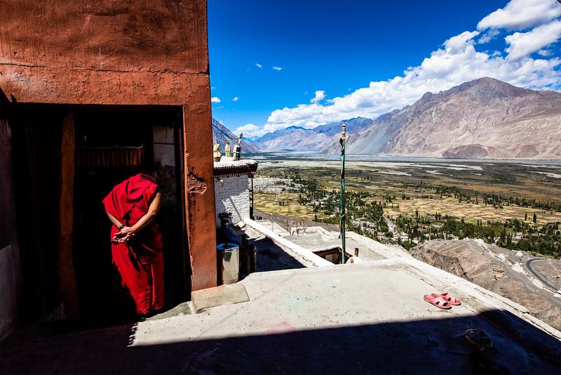 Monk in Diskit monastery
