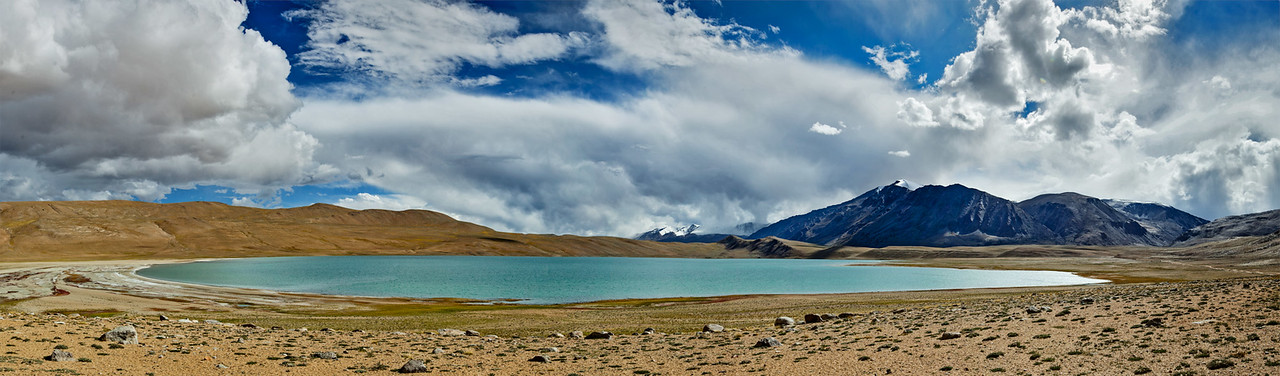 Panorama of Himalayan lake Kyagar Tso, Ladakh, India
