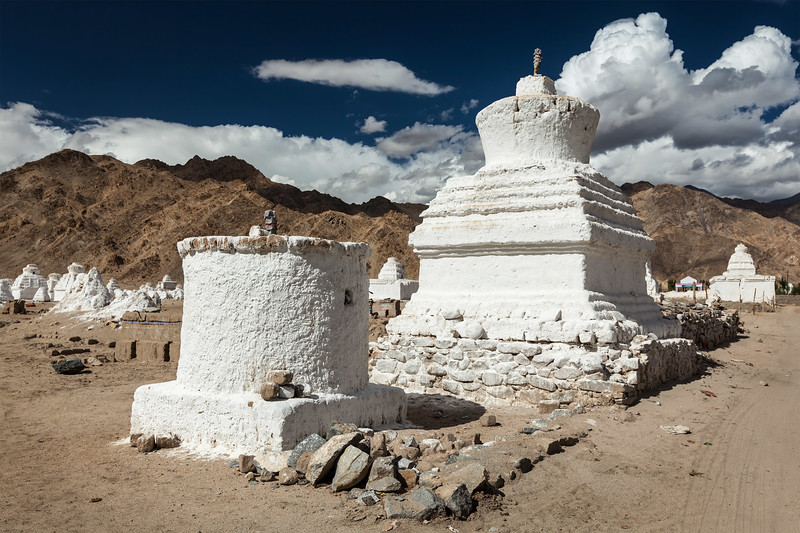 White chortens (stupas) near Shey, Ladakh, India