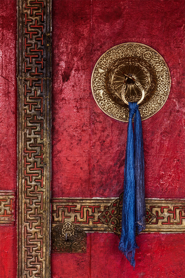 Door handle of Spituk monastery. Ladakh, India