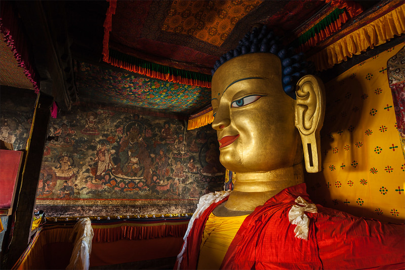 Sakyamuni Buddha statue in Shey gompa, Ladakh, India