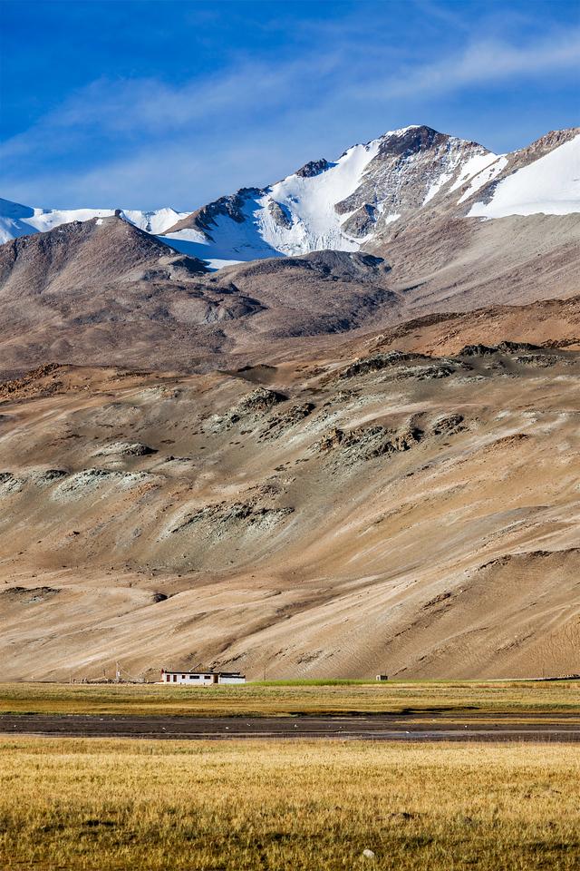 Korzok village at Himalayan lake Tso Moriri, Korzok,  Changthang area, Ladakh, Jammu and Kashmir, India