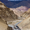 Indian lorry trucks on highway in Himalayas. Ladakh, India