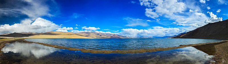 Panorama of lake Tso Moriri, Ladakh