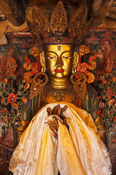 Maitreya Buddha in library of Thiksey Gompa. Ladakh, India