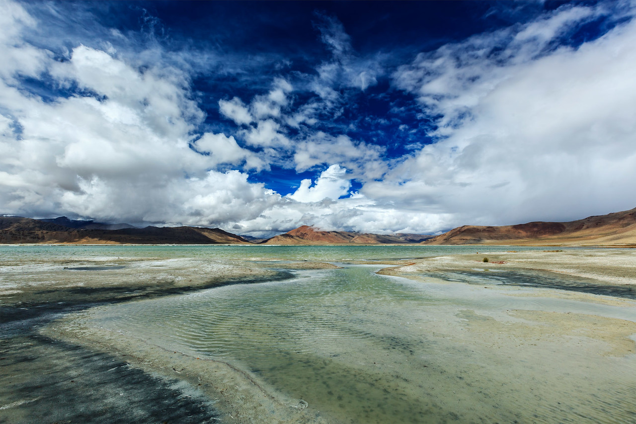Himalayan lake Tso Kar, Ladakh, India