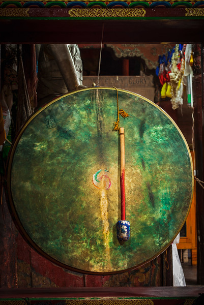 Ritual drum in Hemis monastery. Ladakh, India