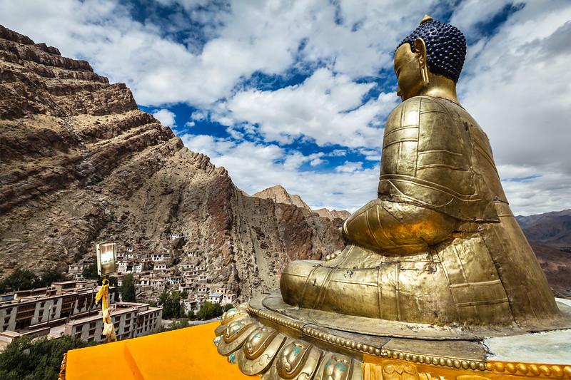 Buddha statue and Hemis monastery. Ladakh