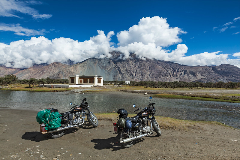 Two Enfield bikes in Himalayas. Ladakh, India