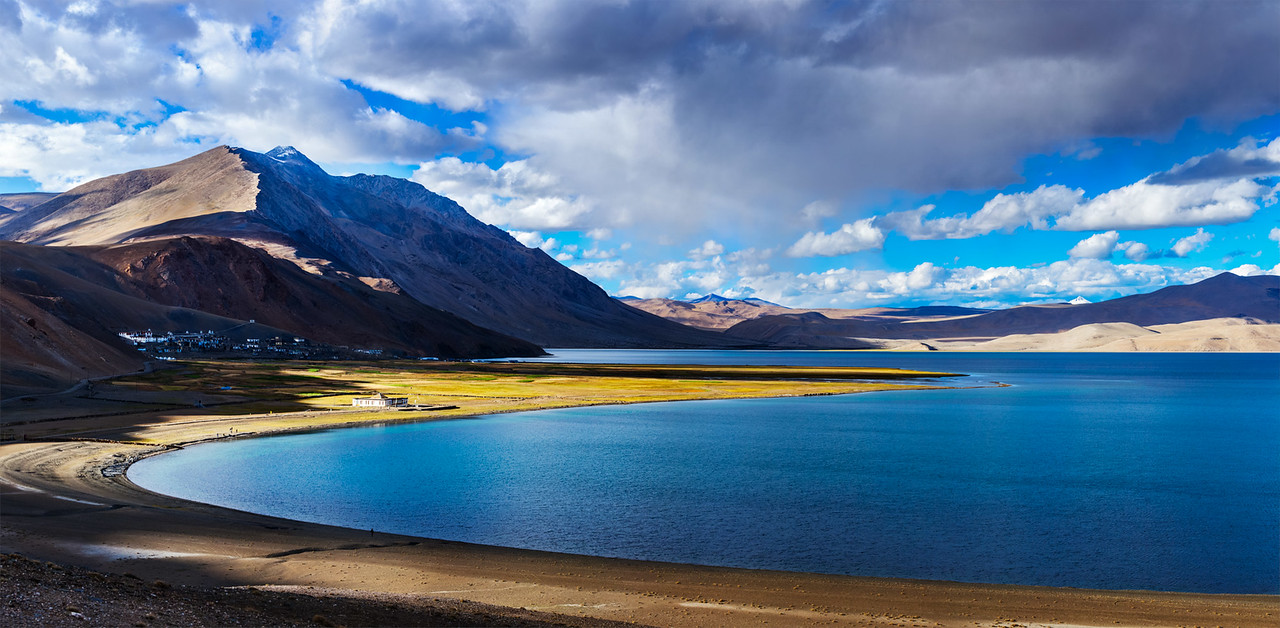 Panorama of Tso Moriri on sunset, Ladakh