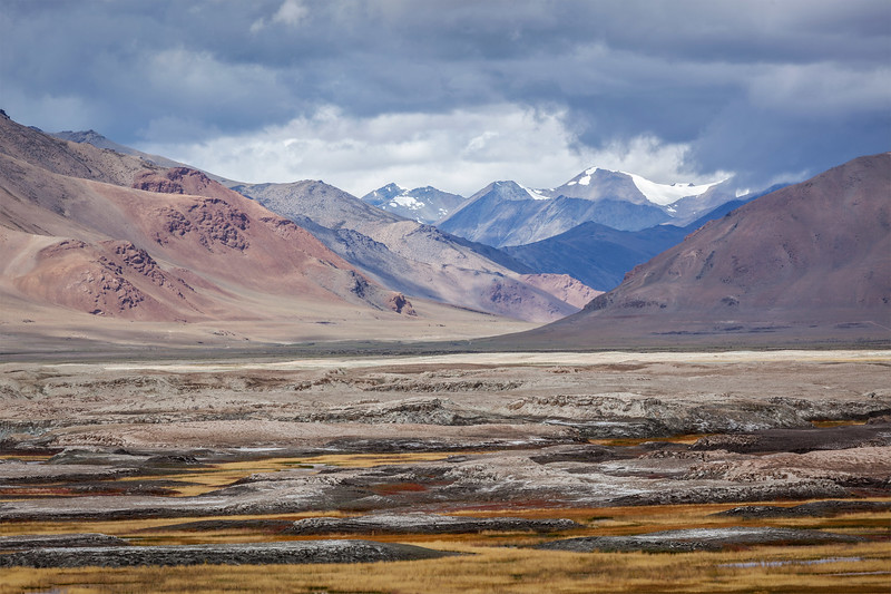 Landscape near Tso Kar lake in Himalayas. Rapshu,  Ladakh, Jammu and Kashmir, India