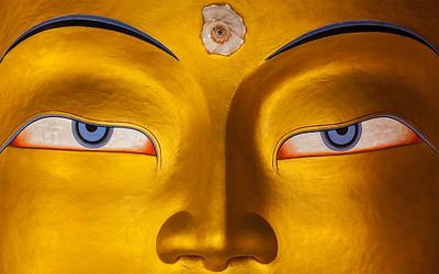 Maitreya Buddha face close up, Thiksey Gompa, Ladakh