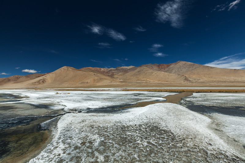 Salt lake Tso Kar in Himalayas. Ladakh, India