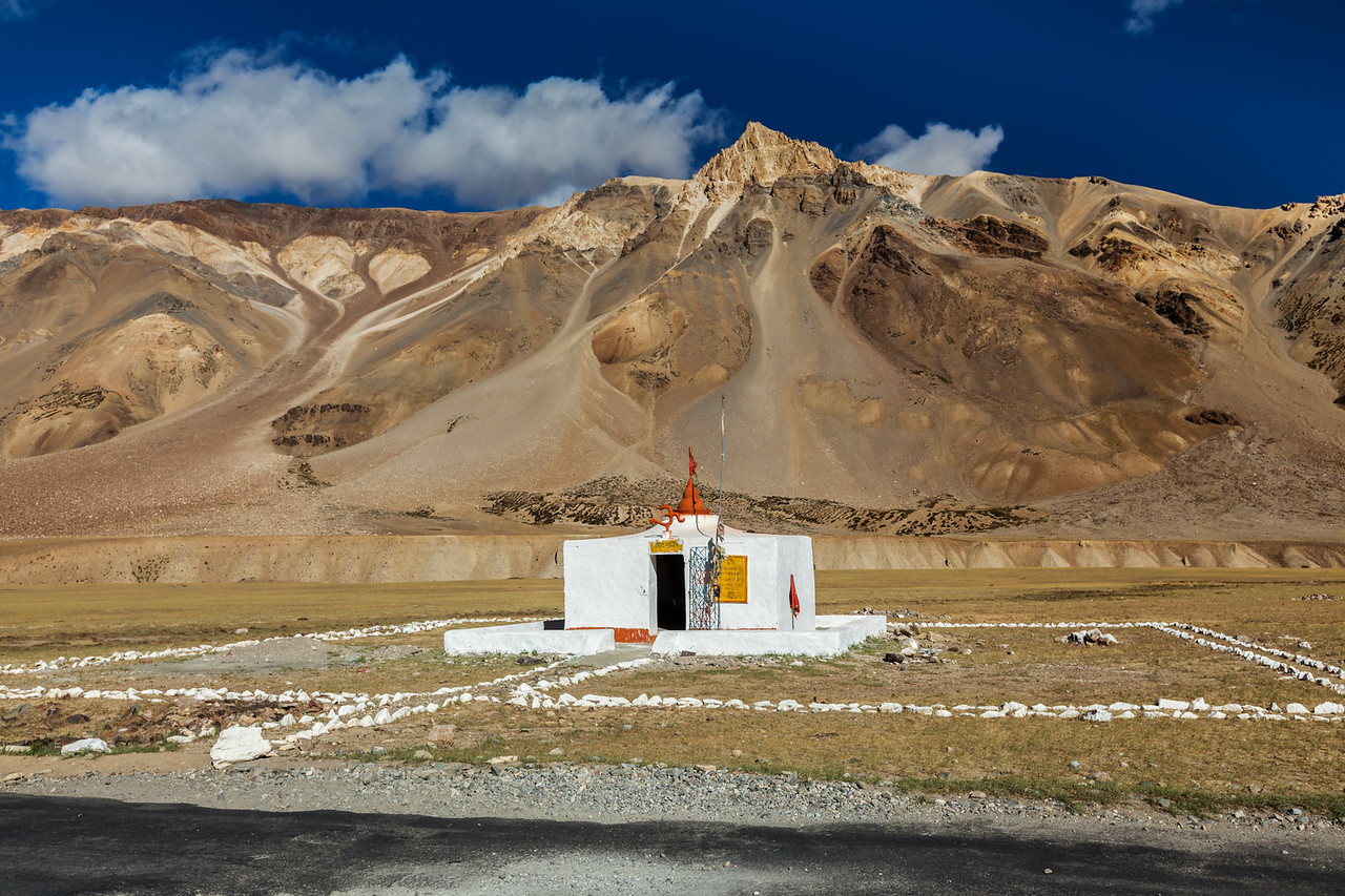 Small Hindu temple in Sarchu on Manali-Leh road to Ladakh, India