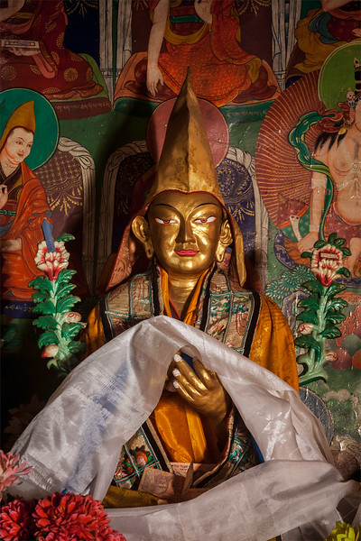 Statue of Je Tsongkhapa, founder of the Gelugpa school in Likir Gompa (Tibetan Buddhist monastery). Ladakh, India