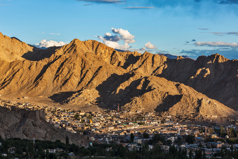 Aerial view of Leh from Shanti Stupa on sunset. Ladakh, Jammu and Kashmir, India