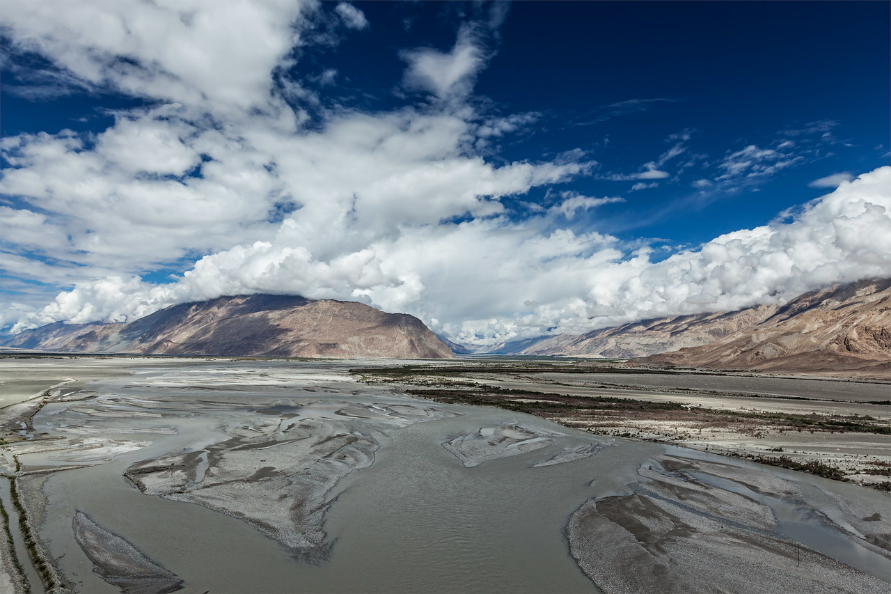 Nubra valley and Nubra river in Himalayas. Ladakh, India