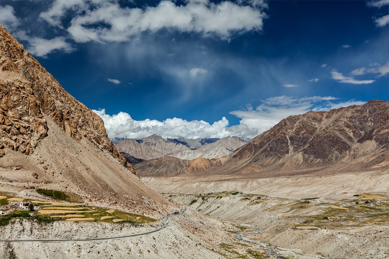 Kardung village in Himalayas. Ladakh, India