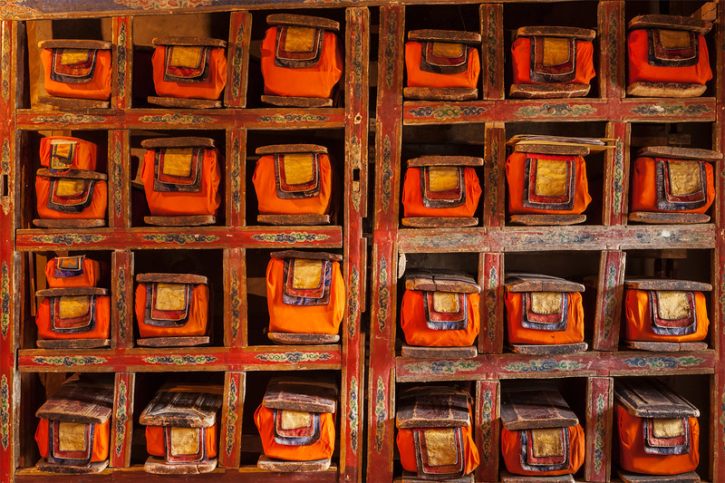 Folios of old manuscripts in library of Thiksey Monastery. Ladakh, India