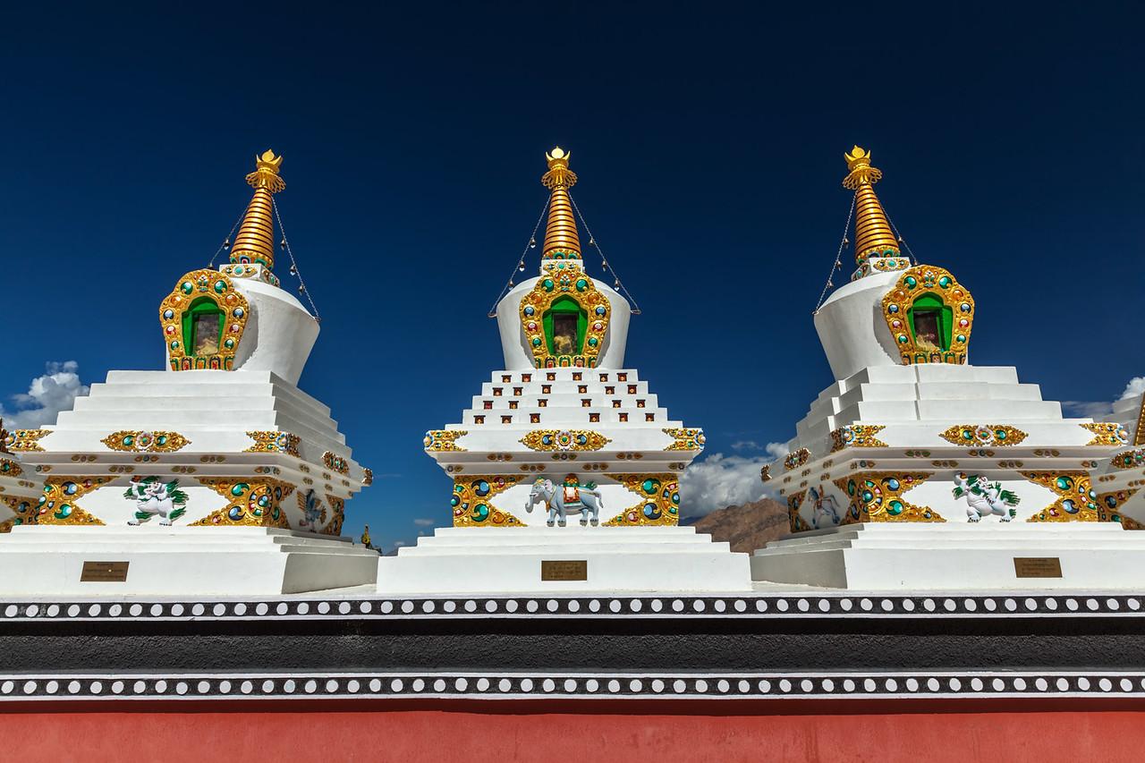 White chortens (stupas) in Thiksey gompa. Ladakh, India