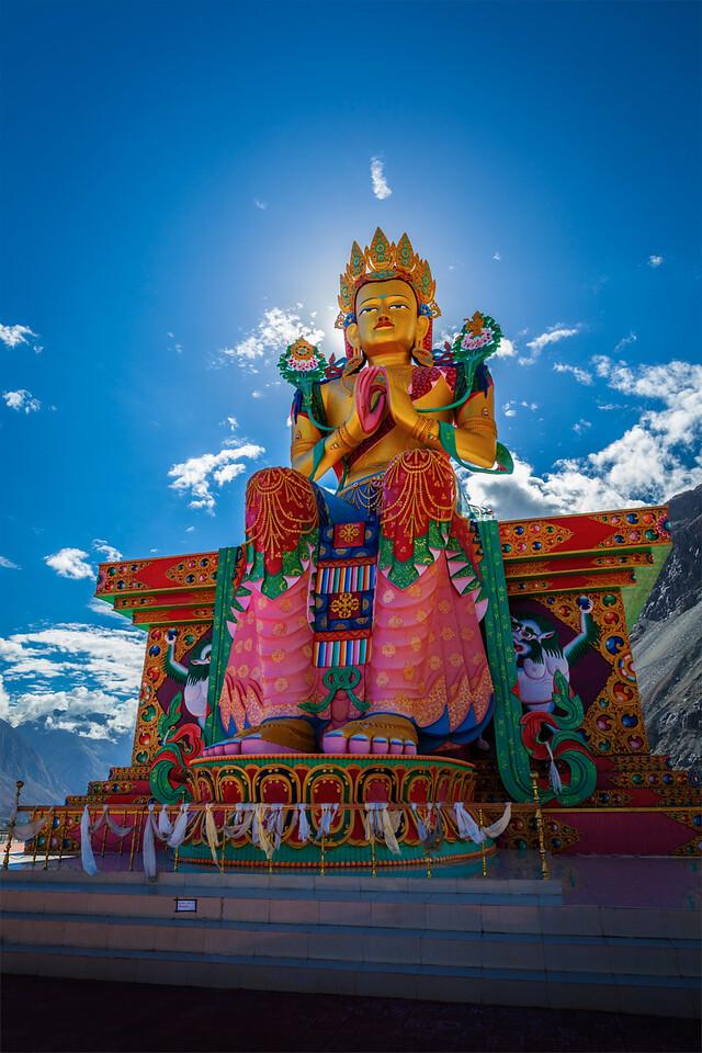 Buddha Maitreya statue in Diskit Gompa. Nubra Valley. Ladakh, India