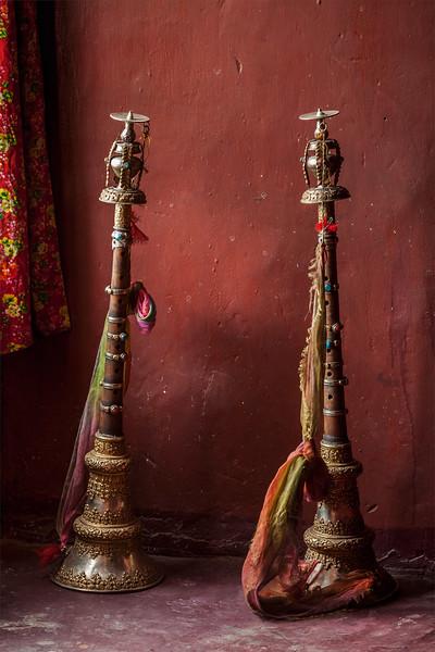 Buddhist prayer horns, Spituk Gompa (Tibetan Buddhist monastery). Ladakh, India